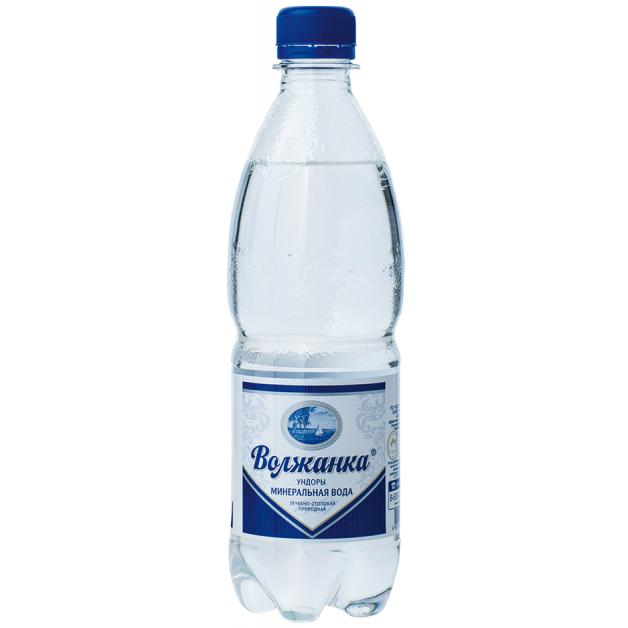 Вода ВОЛЖАНКА минеральная газированная 0.5 литра